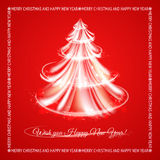 Christmas fir tree. With sparks and glow waves over transparent background. Vector illustration Royalty Free Stock Images