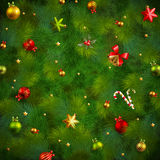 Christmas fir tree texture. With baubles. Vector illustration Stock Images