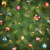 Christmas fir tree texture. With baubles. Vector illustration Stock Photography