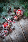 Christmas Fir Tree Toys, Red Balls, Coniferous, Candy Cane, Pine Cones Stock Image
