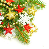 Christmas fir tree twig, decorations background Stock Photos