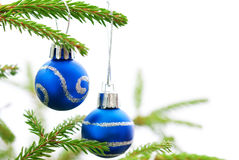 Christmas Fir Tree With Two Blue Christmas Balls stock image