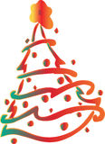 Christmas fir-tree . Vector Illustration. Decorated Christmas fir-tree for the New Year for your congratulations. Vector Illustration Stock Photo