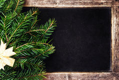Christmas Fir Tree on Vintage Christmas Blackboard frame. Retro Stock Photography