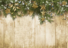 Christmas fir tree with vintage decoration on wooden board. Stock Photography