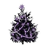 Christmas fir-tree with violet sparks royalty free stock images