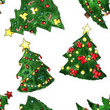 Christmas Fir-tree Watercolor Seamless Pattern. With star and toys Stock Photography