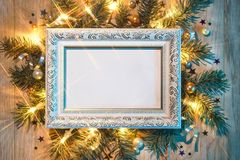 Christmas fir tree with white festive frame. Merry Christmas and Happy New Year!! Top view. High resolution product Royalty Free Stock Photos