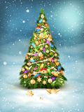 Christmas fir tree on winter landscape. EPS 10. Vector file included Stock Photo
