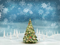 Christmas fir tree on winter landscape. EPS 10 Royalty Free Stock Image