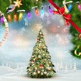 Christmas fir tree on winter landscape. EPS 10 Stock Photo
