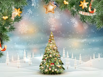 Christmas fir tree on winter landscape. EPS 10 Royalty Free Stock Photo