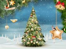 Christmas fir tree on winter landscape. EPS 10 Stock Image