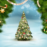 Christmas fir tree on winter landscape. EPS 10 Royalty Free Stock Images