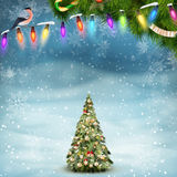 Christmas fir tree on winter landscape. EPS 10 Stock Images