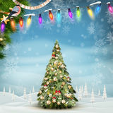 Christmas fir tree on winter landscape. EPS 10 Stock Photography