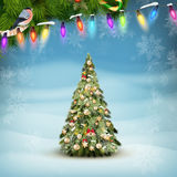 Christmas fir tree on winter landscape. EPS 10 Royalty Free Stock Photography