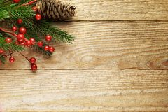 Christmas Fir Tree With Decoration On A Wooden Stock Images