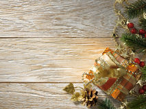 Christmas fir tree on wood texture. background old panels Stock Photo