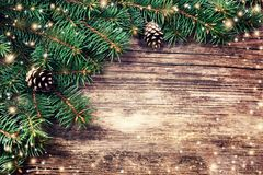 Christmas fir tree on a wooden background Royalty Free Stock Photos