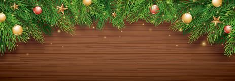 Christmas fir tree on wooden background with copy space for text vector illustration