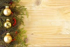 Christmas fir tree on wooden background Stock Image