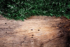 Christmas fir tree on a wooden Royalty Free Stock Photo