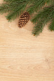 Christmas fir tree on wooden board Stock Photography