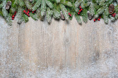 Christmas fir tree on a wooden board Royalty Free Stock Photography