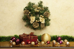Christmas fir tree on the wooden board Stock Images