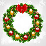 Christmas fir-tree wreath Stock Images