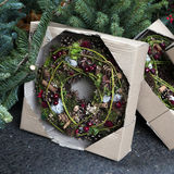 Christmas fir tree wreath decorate Stock Photography