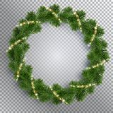 Christmas fir-tree wreath and glowing sparks royalty free illustration