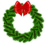 Christmas fir tree wreath. With red bow Stock Photography