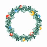 Christmas fir tree wreath 8. Watercolor illustration. Christmas fir tree wreath Stock Images