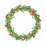 Christmas fir tree wreath 5. Watercolor illustration. Christmas fir tree wreath, isolated on white background Stock Photos