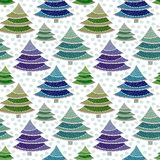 Christmas fir trees seamless pattern. Vector wrapping texture for New Year holidays. Bright colorful background. Royalty Free Stock Photography