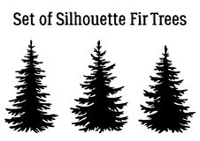 Christmas Fir Trees Silhouettes. Fir Trees, Christmas Holiday Decoration, Black Silhouettes Isolated on White Background. Vector Stock Photography
