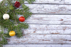 Christmas fir twig  on the wooden background Royalty Free Stock Images