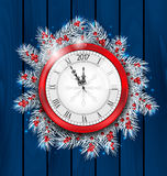Christmas Fir Twigs with Clock for 2017 New Year. Illustration Christmas Fir Twigs with Clock for 2017 New Year, Decoration on Blue Wooden Background - Vector Royalty Free Stock Image