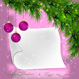 Christmas fir twigs and lilac balls with white paper scroll. On a pink background Stock Image