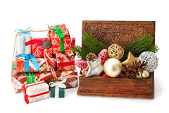 Christmas fir twigs, toys and gifts Stock Photos