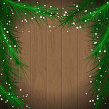 Christmas. Fir on a wooden board,  green framework, vector illustration Stock Image