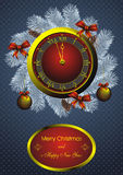Christmas fir wreath and golden watch Stock Images