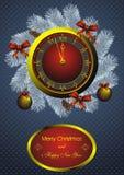 Christmas fir wreath and golden watch. Golden watch and christmas fir wreath with decorations Stock Images