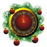 Christmas fir wreath and golden watch. Golden watch and christmas fir wreath with decorations Royalty Free Stock Photo