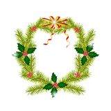 Christmas fir wreath with Holly berry. Decorative bow gold red. The traditional Christmas decoration. Isolated. White background Stock Photography