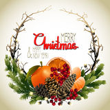 Christmas fir wreath. With mandarins, holly and dry branches. Vector holiday design dry branches Royalty Free Stock Photos
