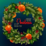 Christmas fir wreath with mandarins and holly. Vector holiday design Royalty Free Stock Photo