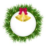 Christmas fir wreath with red baw and bells Isolated on white background. Vector illustration Stock Photo